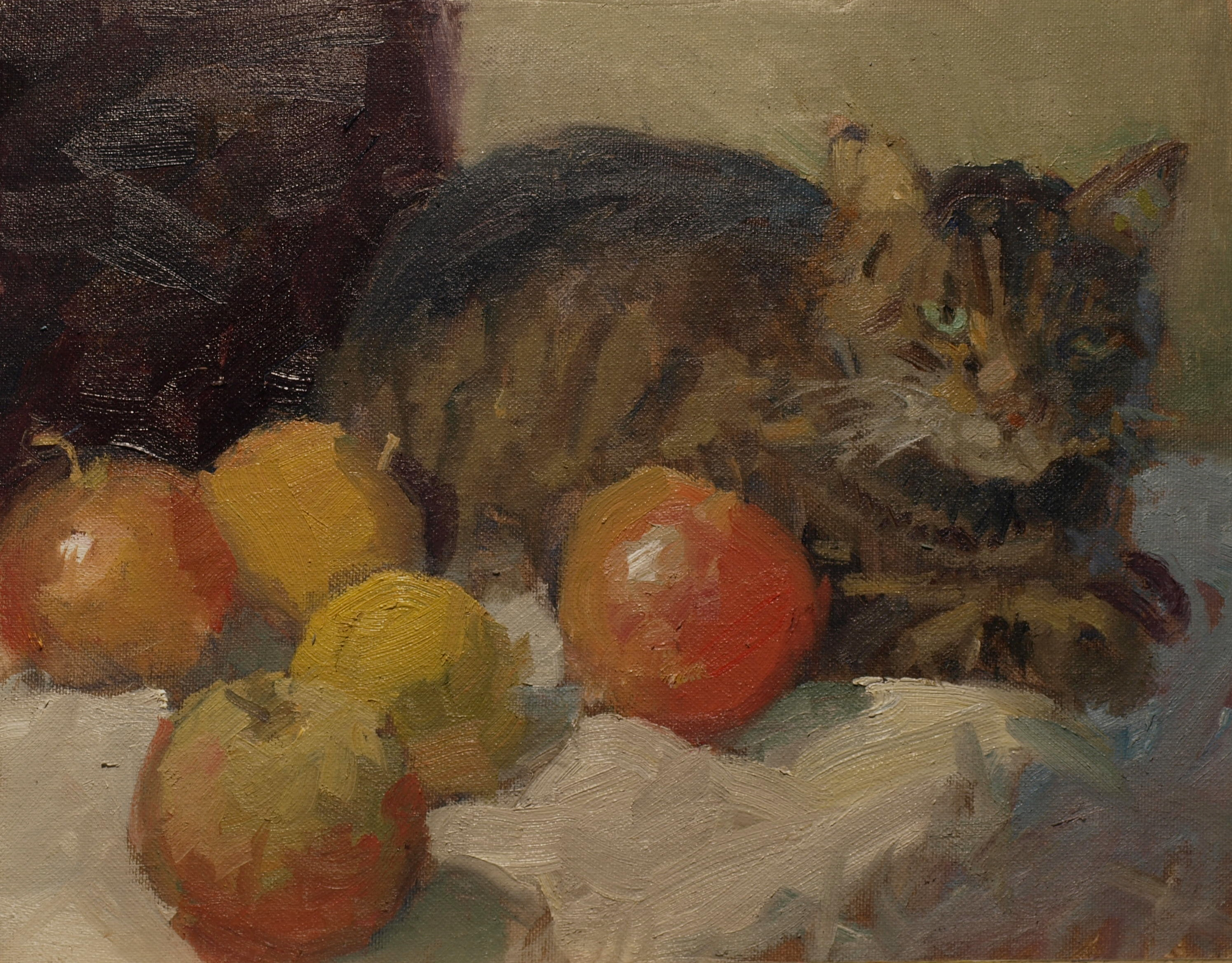 Cat with Apples, Oil on Panel, 11 x 14 Inches, by Susan Grisell, $275