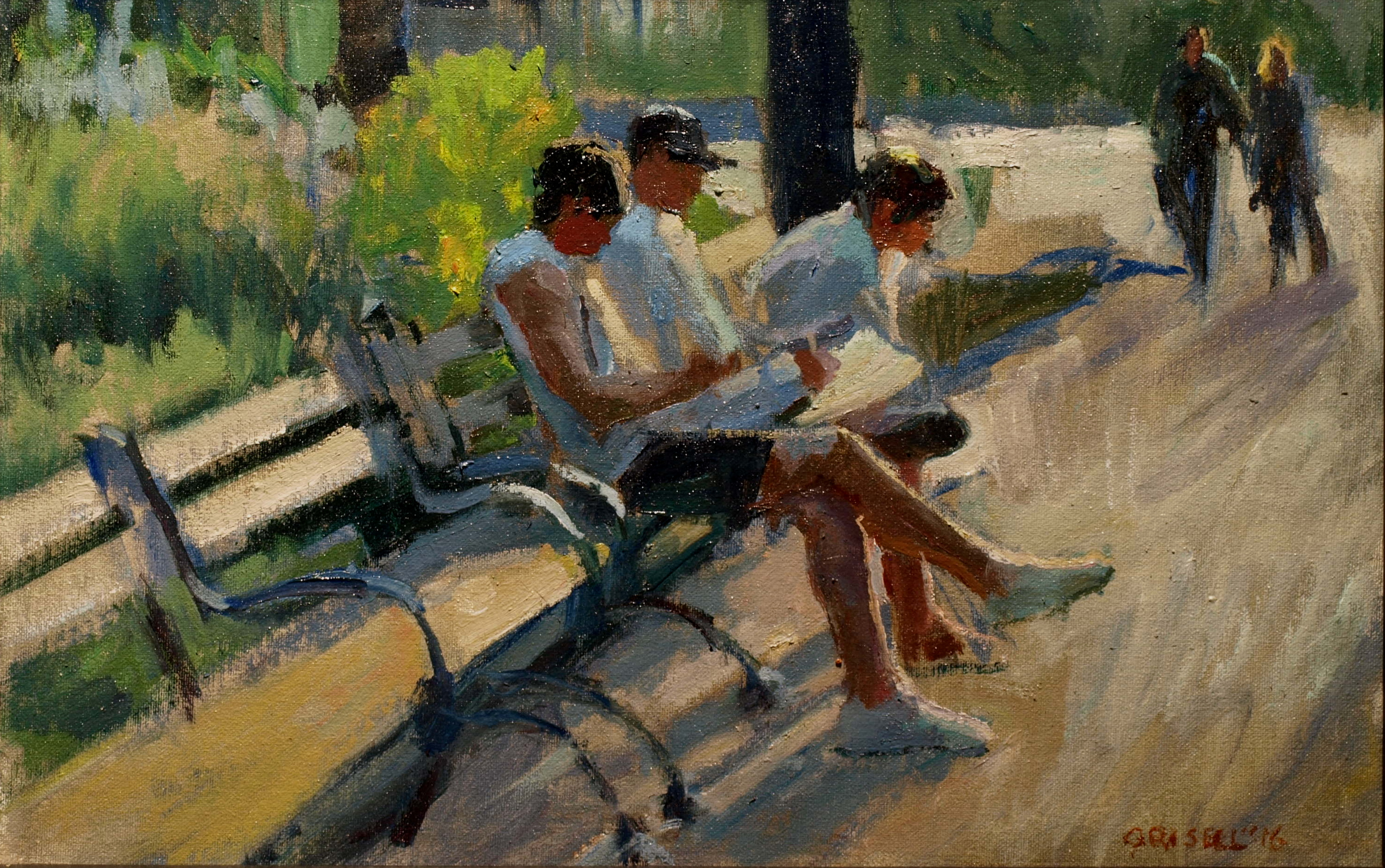 In the Park, Oil on Canvas on Panel, 12 x 18 Inches, by Susan Grisell, $300