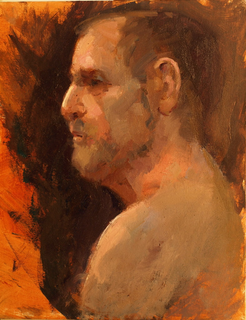 Profile Study, Oil on Panel, 14 x 11 Inches, by Susan Grisell, $250
