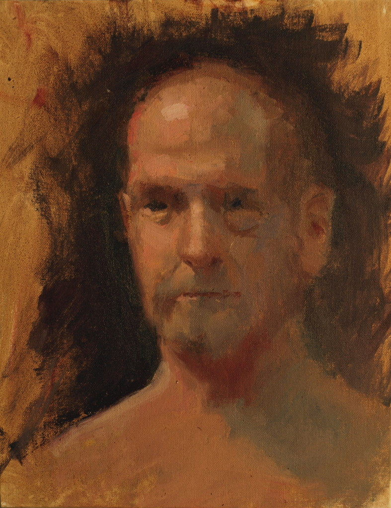 Head of Male Model, Oil on Panel, 14 x 11 Inches, by Susan Grisell, $250