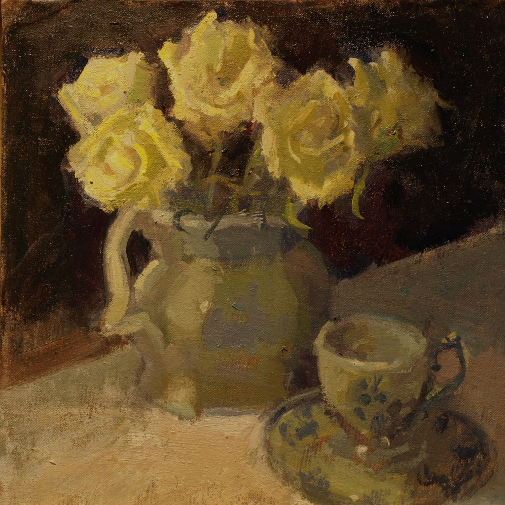 Roses and Teacup, Oil on Canvas on Panel, 12 x 12 Inches, by Susan Grisell, $275