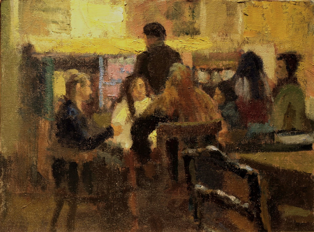 At the Coffee House, Oil on Panel, 12 x 16 Inches, by Susan Grisell, $300