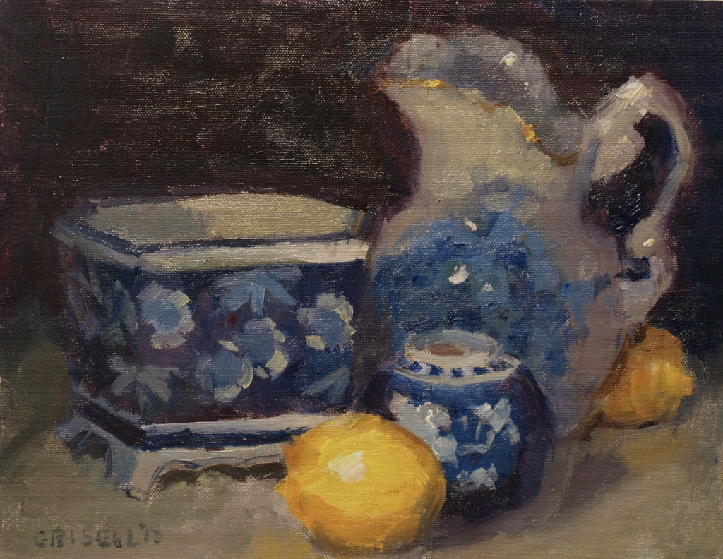 Lemons with China, Oil on Panel, 11 x 14 Inches, by Susan Grisell, $275