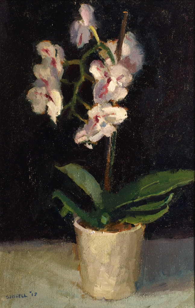 White Orchid, Oil on Canvas on Panel, 18 x 12 Inches, by Susan Grisell, $300