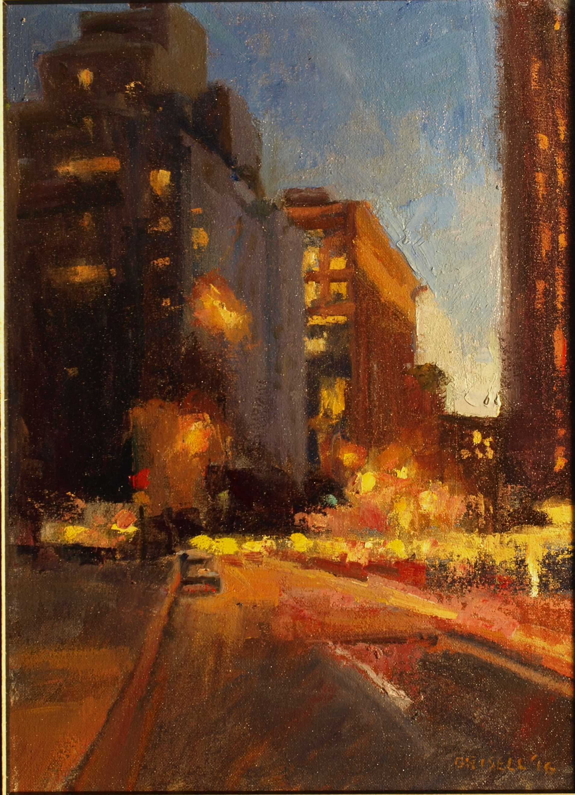 Lower Broadway, Oil on Canvas on Panel, 16 x 12 Inches, by Susan Grisell, $300