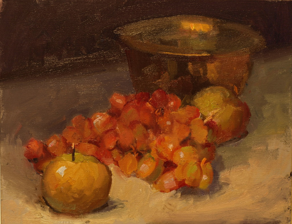 Russets and Grapes, Oil on Panel, 11 x 14 Inches, by Susan Grisell, $275
