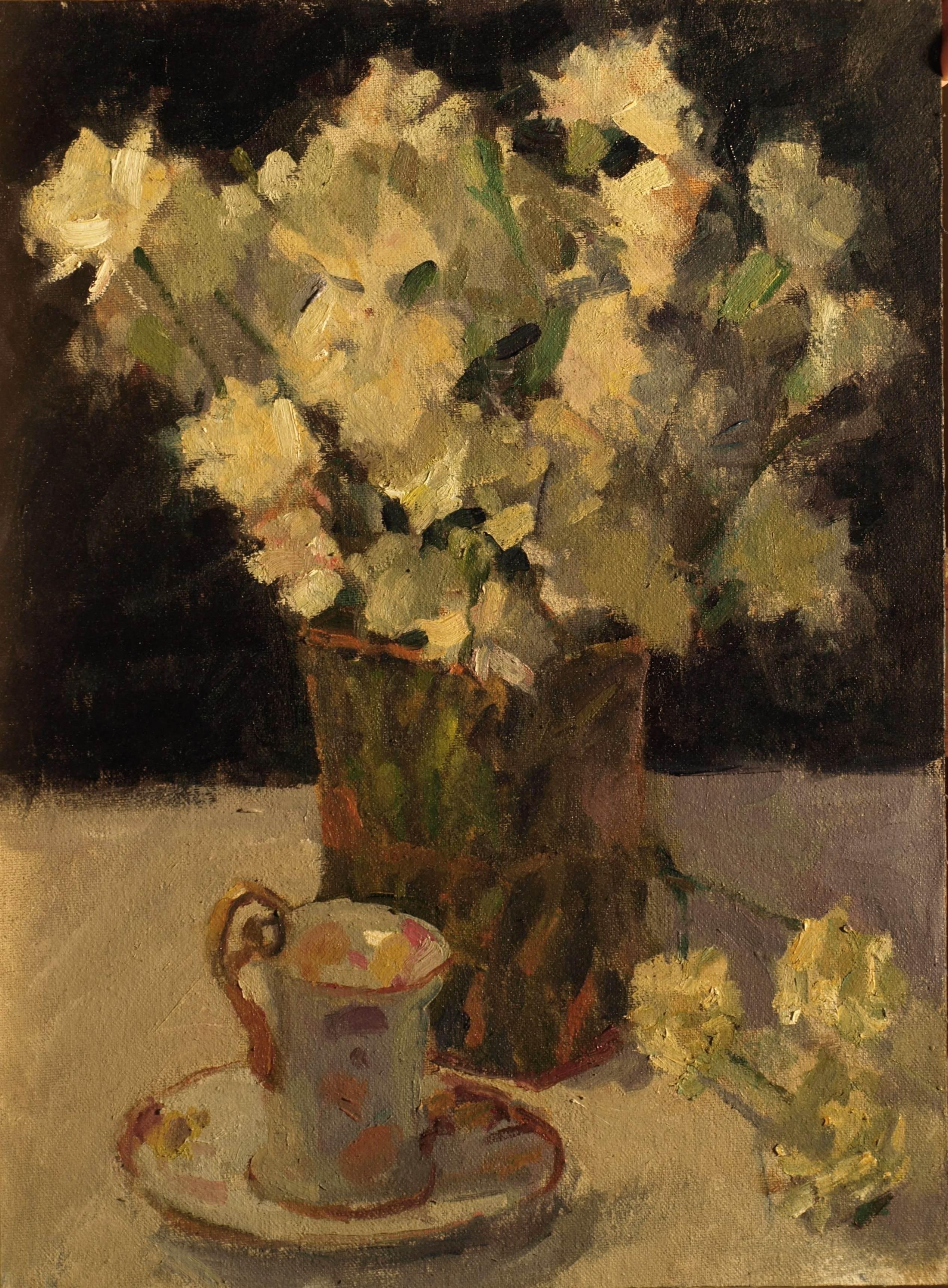 Carnations and Teacup, Oil on Canvas on Panel, 16 x 12 Inches, by Susan Grisell, $300