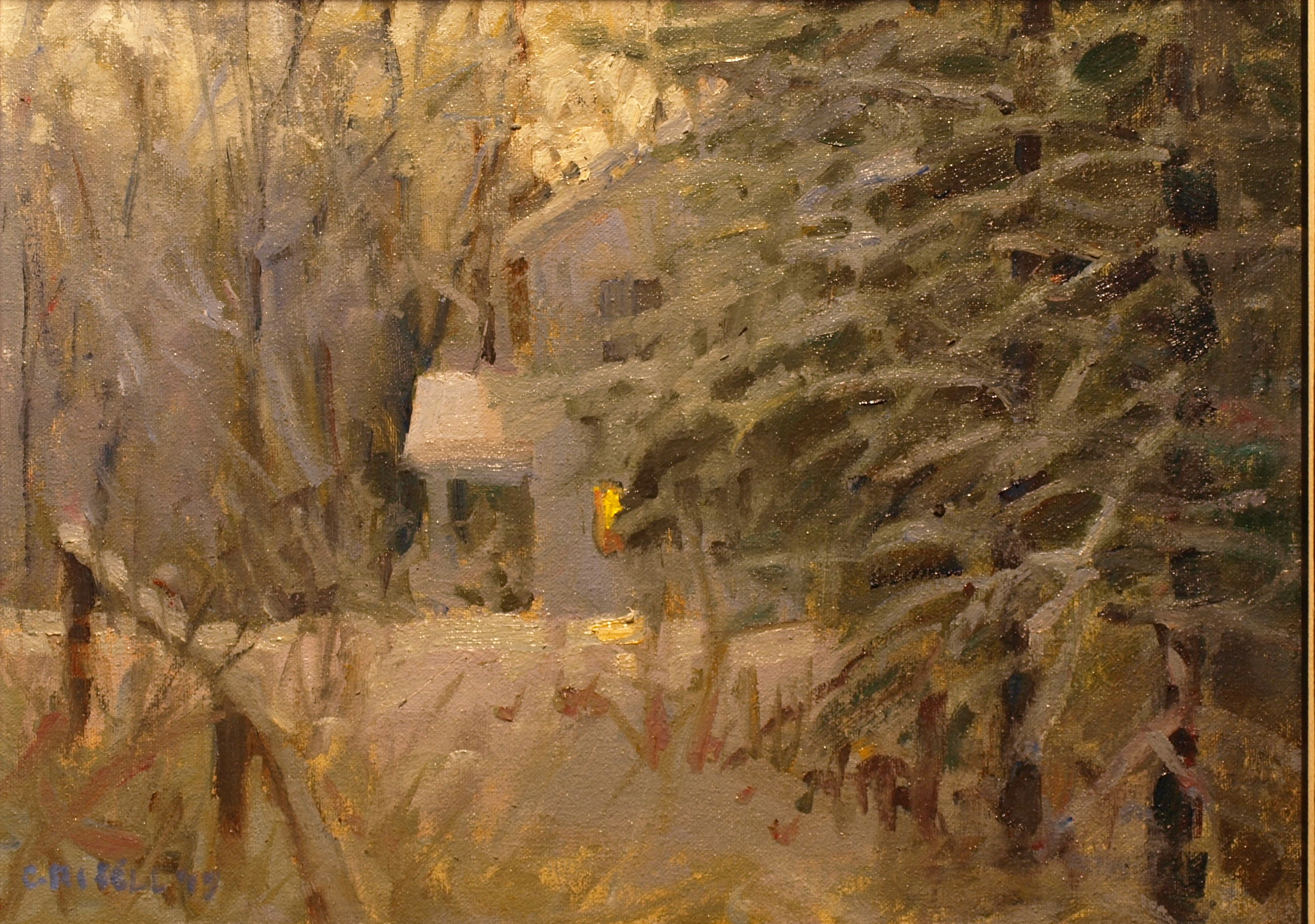 New Snow, Oil on Canvas on Panel, 12 x 16 Inches, by Susan Grisell, $300