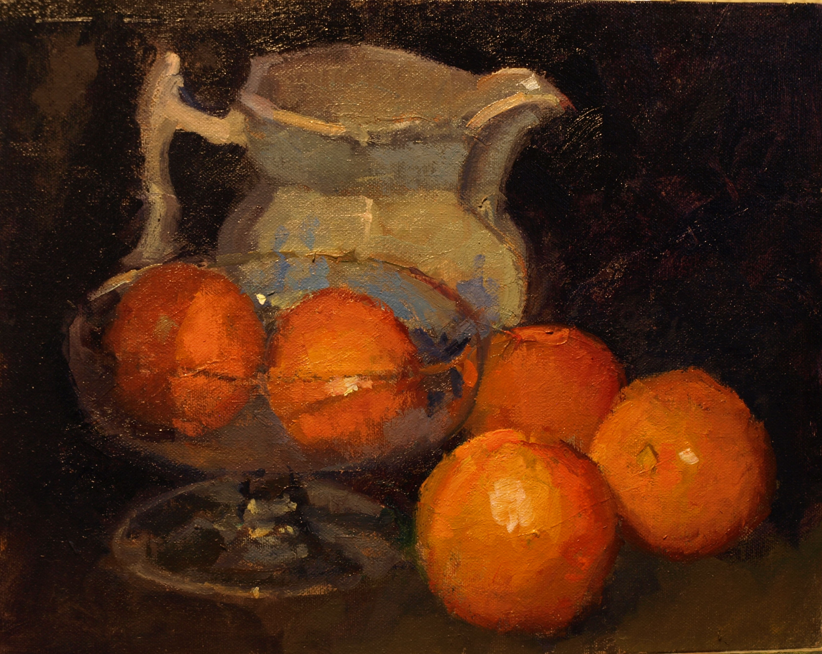 Oranges and Pitcher, Oil on Panel, 11 x 14 Inches, by Susan Grisell, $300
