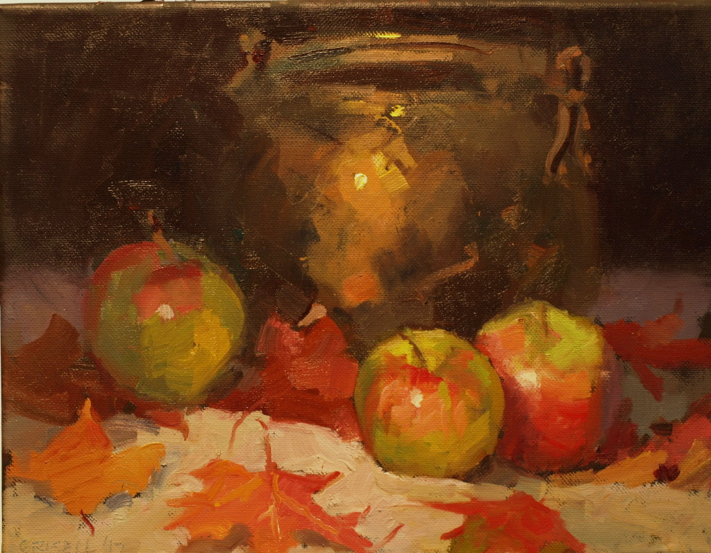 Apples and Maple Leaves, Oil on Canvas, 11 x 14 Inches, by Susan Grisell, $300
