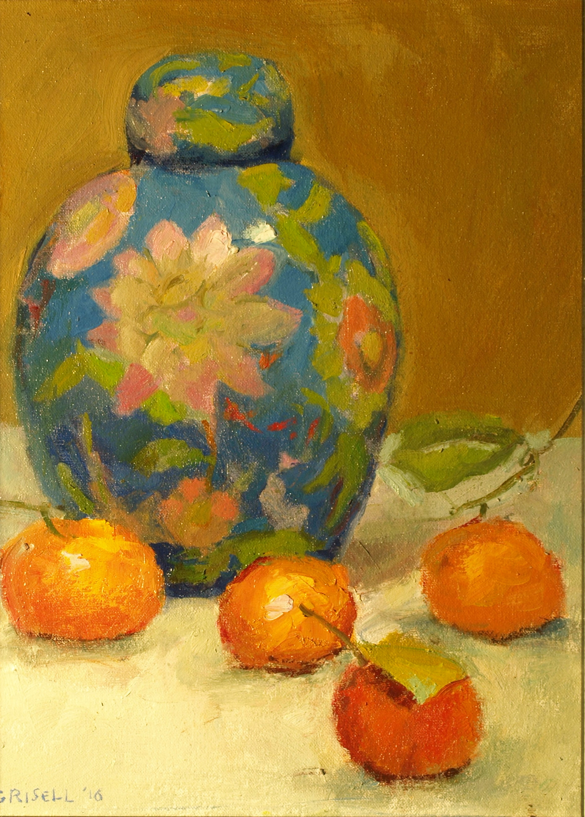 Ginger Jar, Oil on Canvas on Panel, 16 x 12 Inches, by Susan Grisell, $300