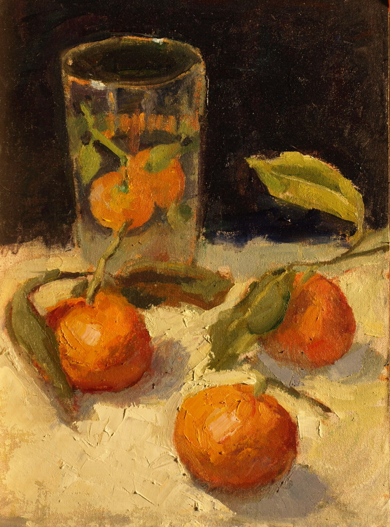 Mandarins and Juice Glass, Oil on Canvas on Panel, 16 x 12 Inches, by Susan Grisell, $300