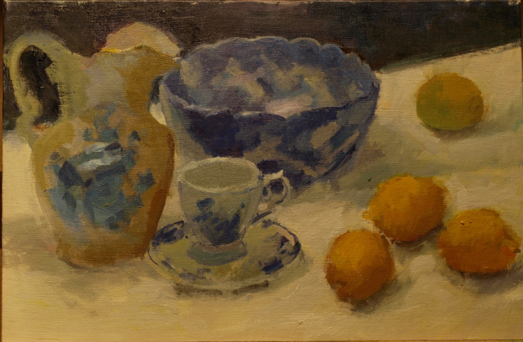 China and Lemons, Oil on Canvas on Panel, 12 x 18 Inches, by Susan Grisell, $300