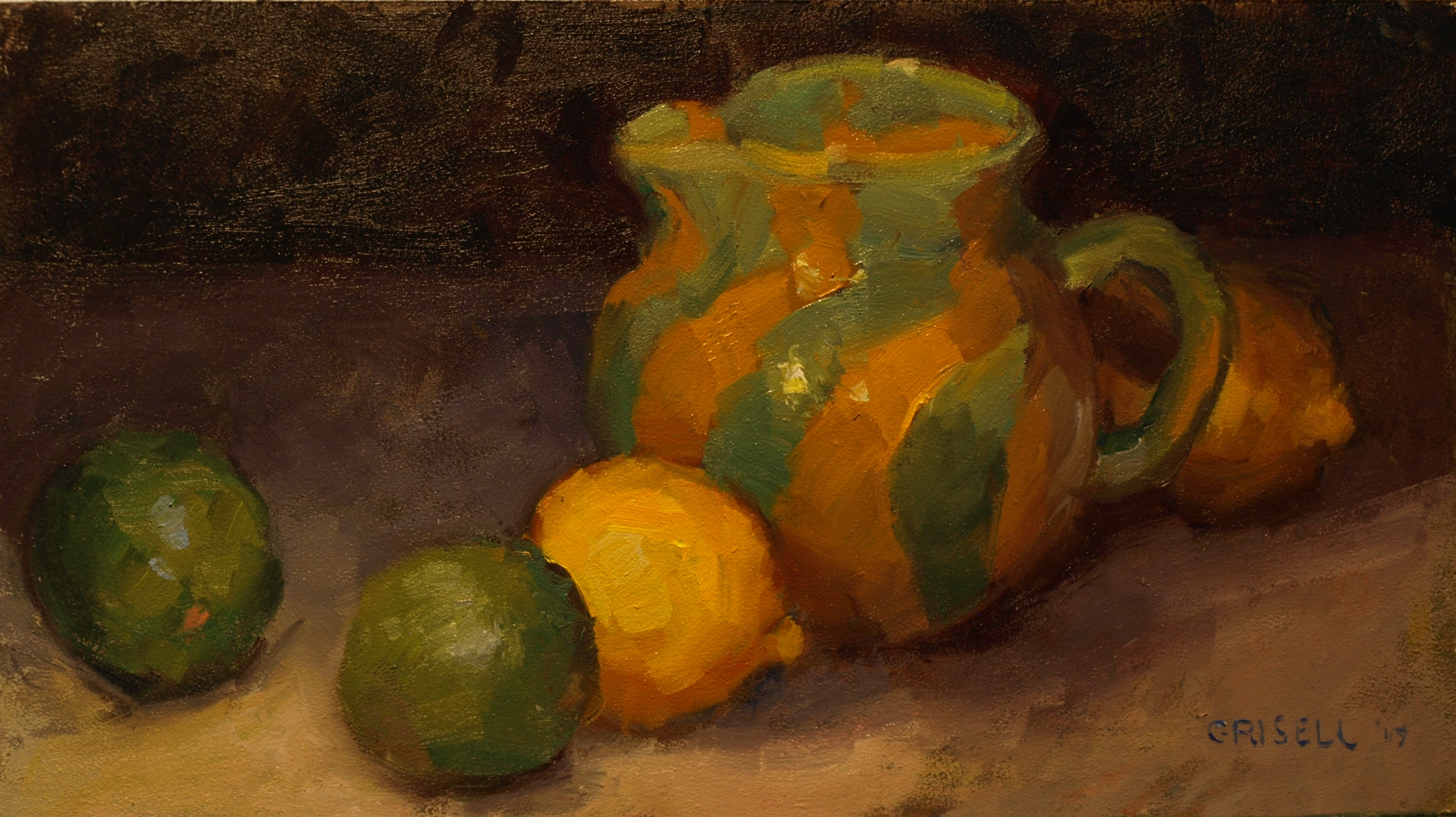 Lemons and Limes, Oil on Canvas on Panel, 9 x 16 Inches, by Susan Grisell, $275