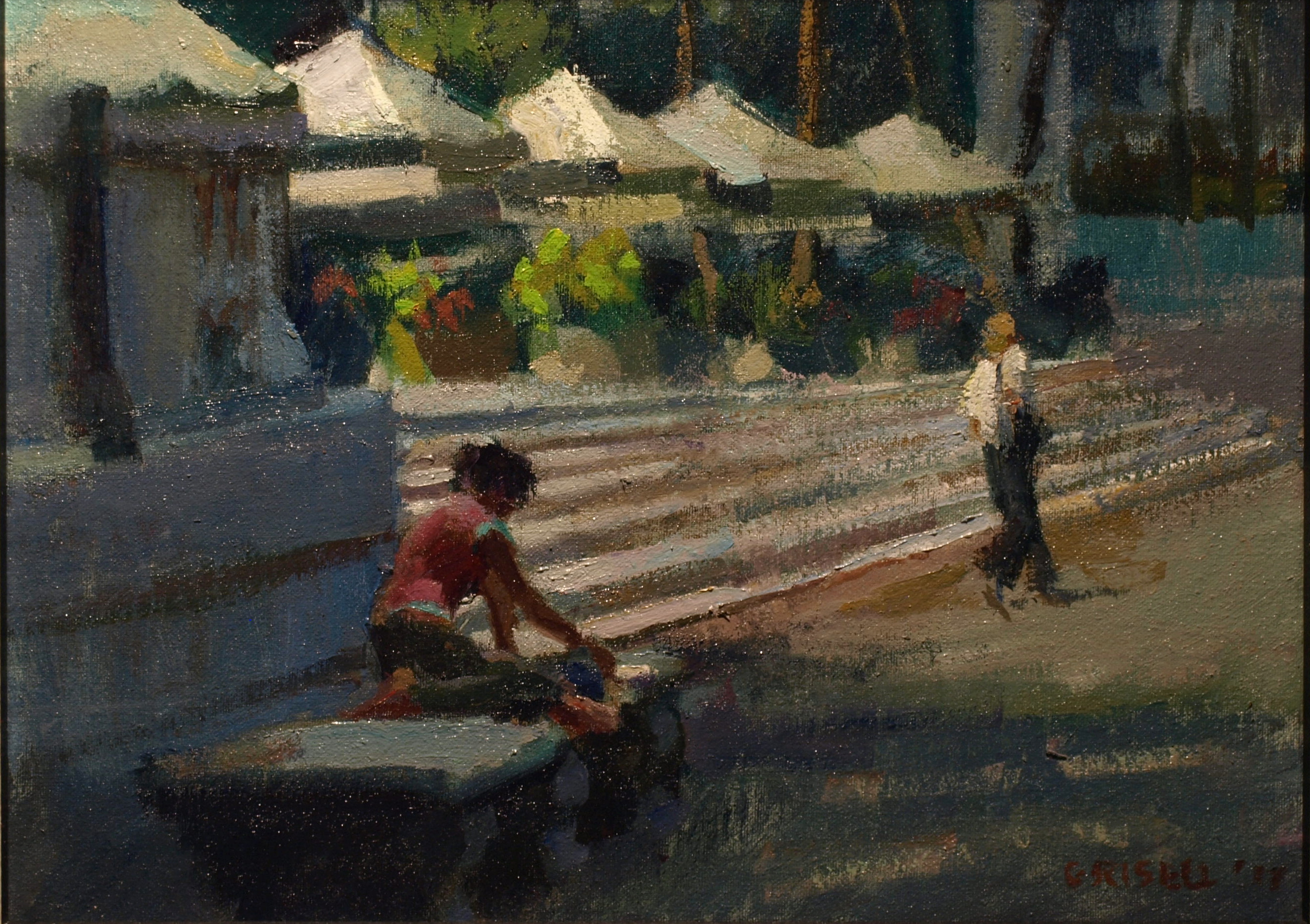 Reading in Bryant Park, Oil on Canvas on Panel, 12 x 16 Inches, by Susan Grisell, $300