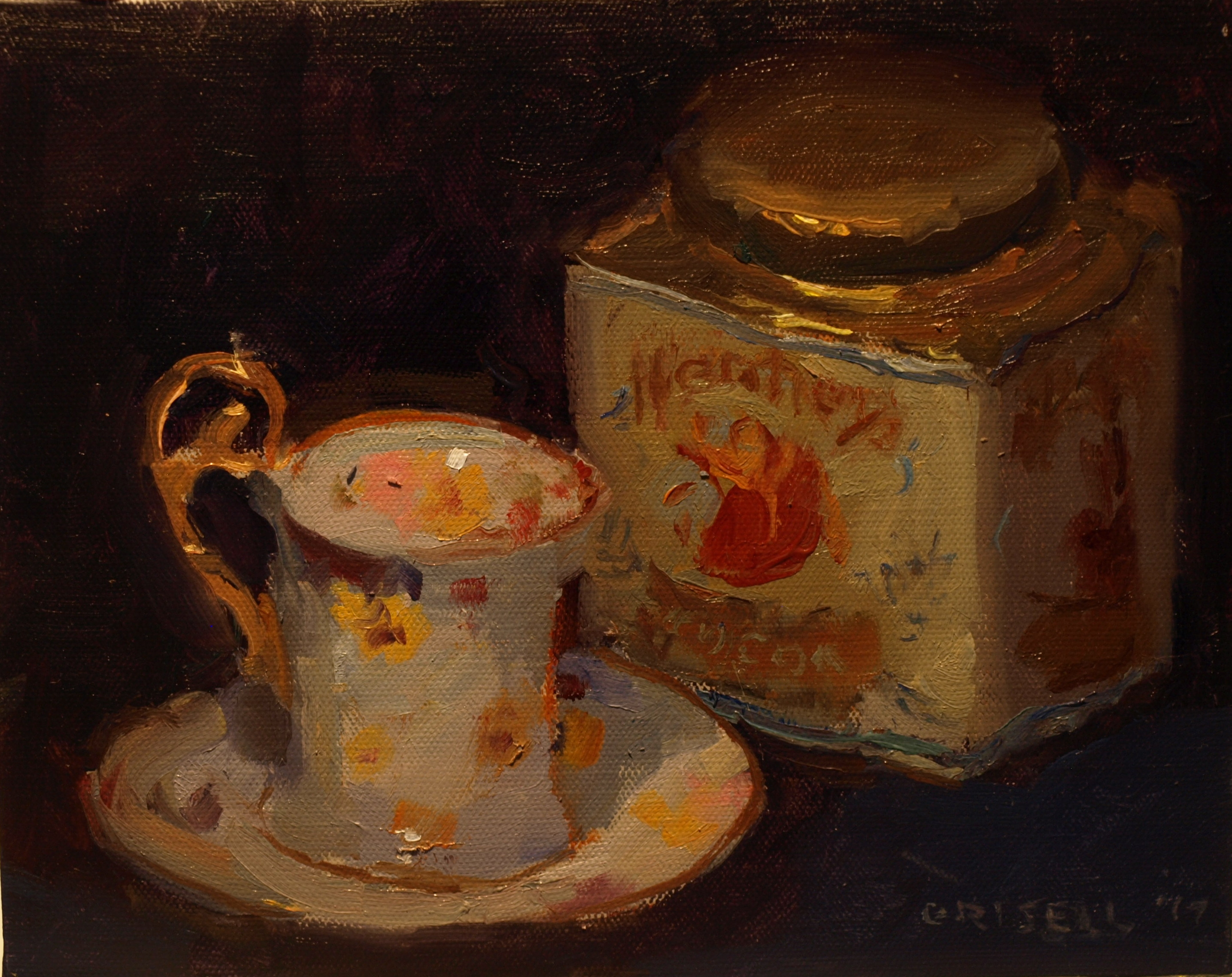 Cocoa Tin and Cup, Oil on Panel, 8 x 10 Inches, by Susan Grisell, $200