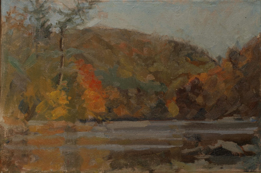 Housatonic - West Cornwall, Oil on Canvas on Panel, 12 x 18 Inches, by Susan Grisell, $300