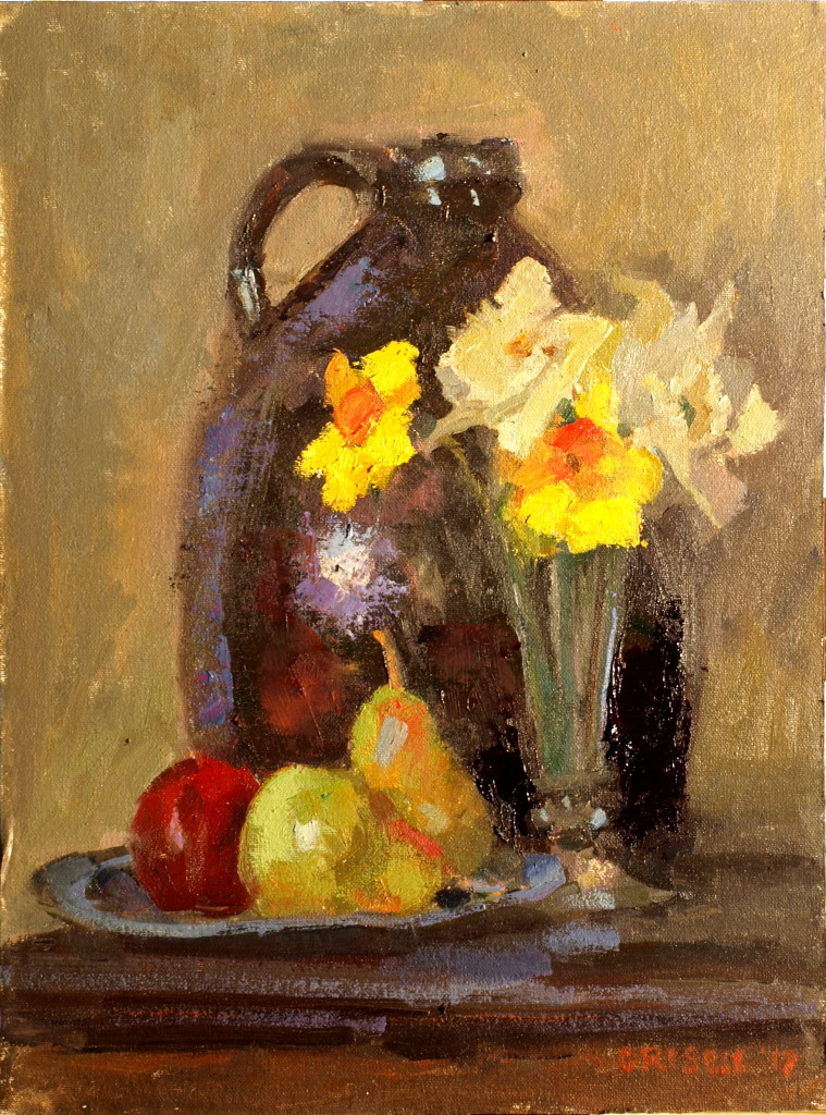 Still Life with Jug, Oil on Canvas on Panel, 16 x 12 Inches, by Susan Grisell, $300