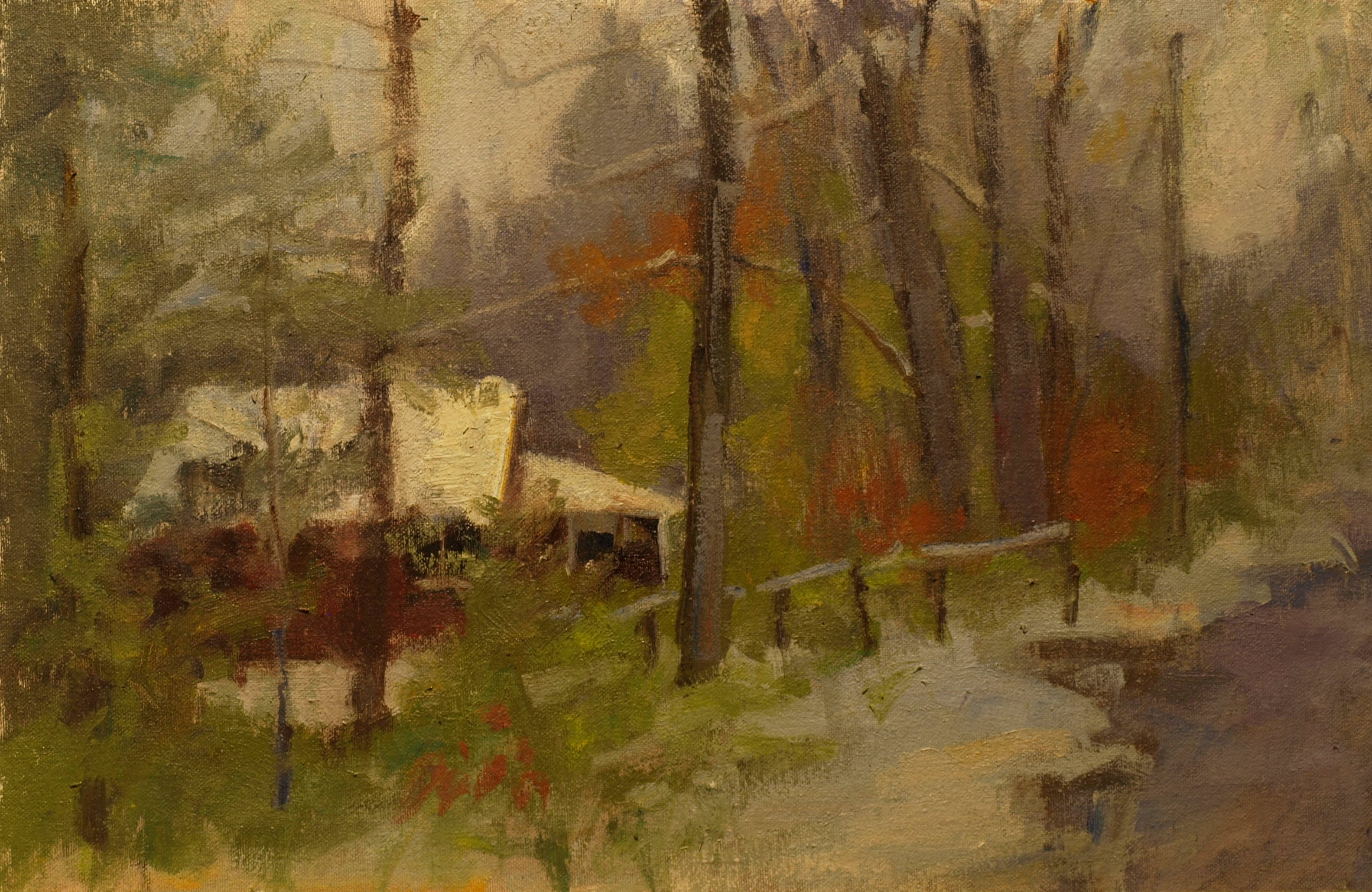 First Snow, Oil on Canvas on Panel, 12 x 18 Inches, by Susan Grisell, $300