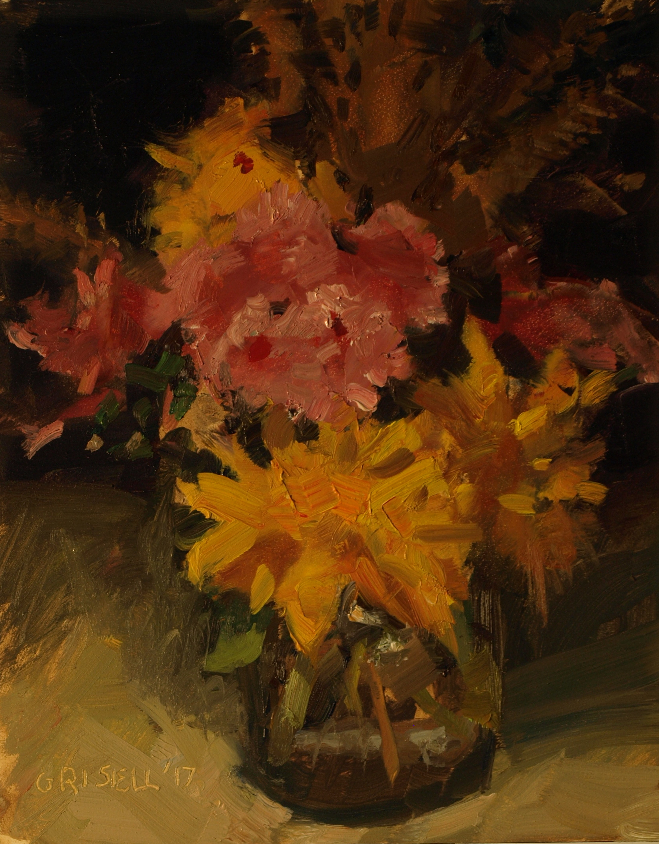 Late Summer Blooms, Oil on Panel, 10 x 8 Inches, by Susan Grisell, $200