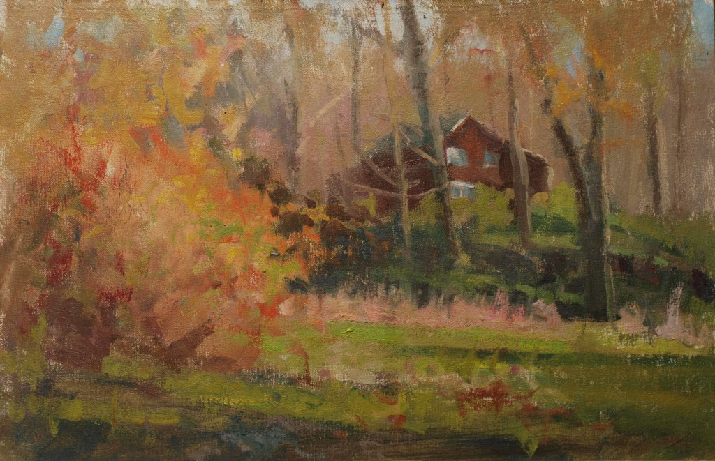 At Home - October, Oil on Canvas on Panel, 12 x 18 Inches, by Susan Grisell, $300