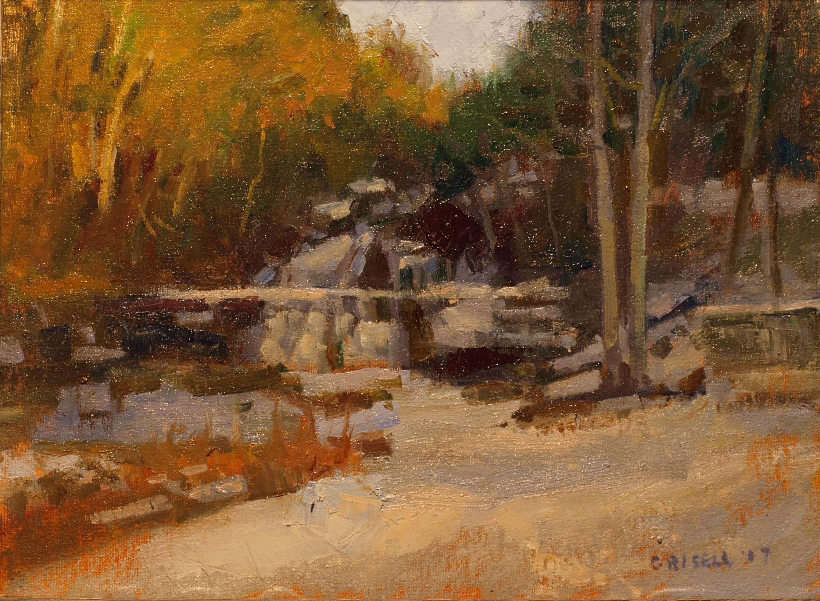 Kent Falls in Winter, Oil on Canvas on Panel, 12 x 18 Inches, by Susan Grisell, $300