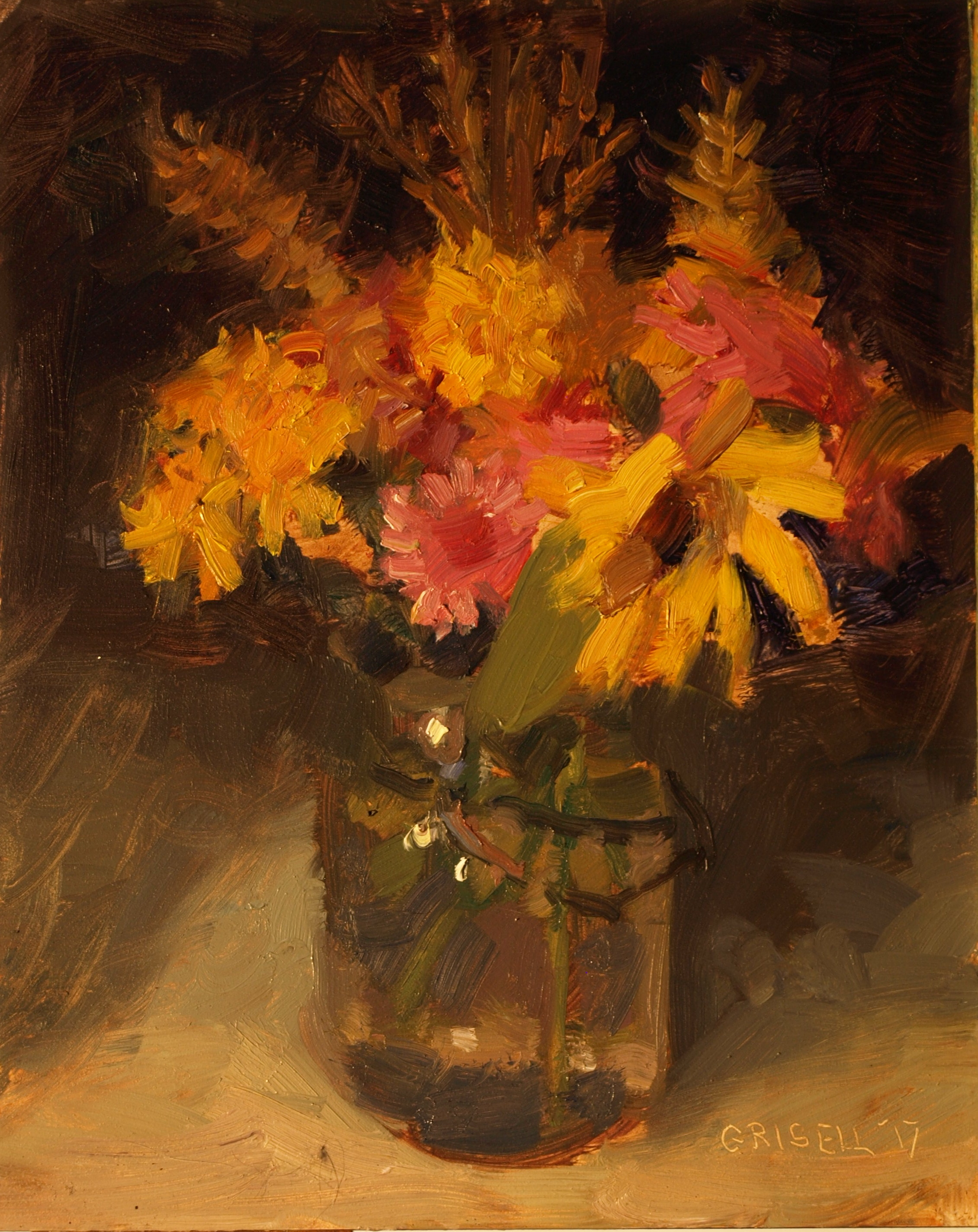 Mason Jar Bouquet, Oil on Panel, 10 x 8 Inches, by Susan Grisell, $200