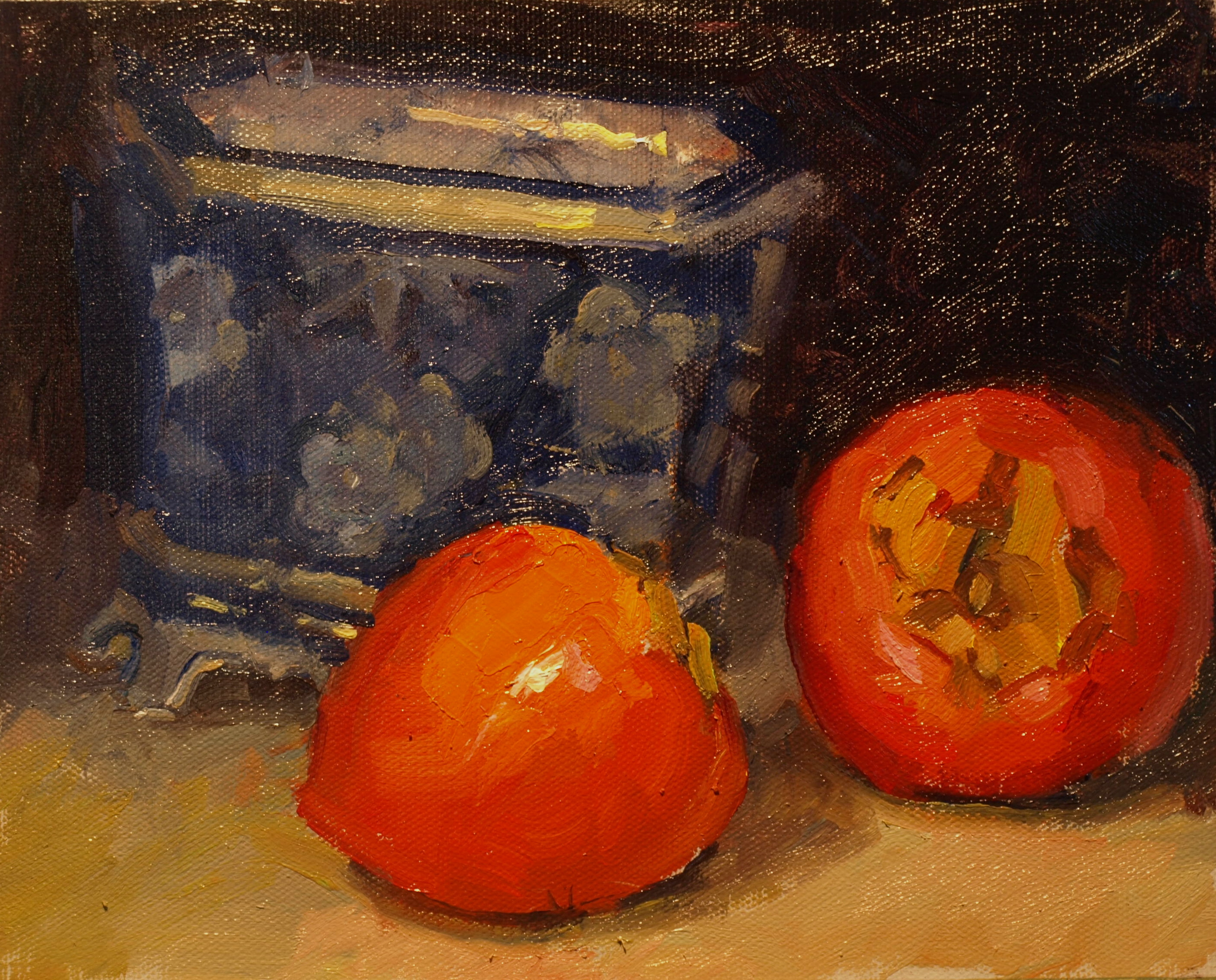 Two Persimmons, Oil on Panel, 8 x 10 Inches, by Susan Grisell, $200