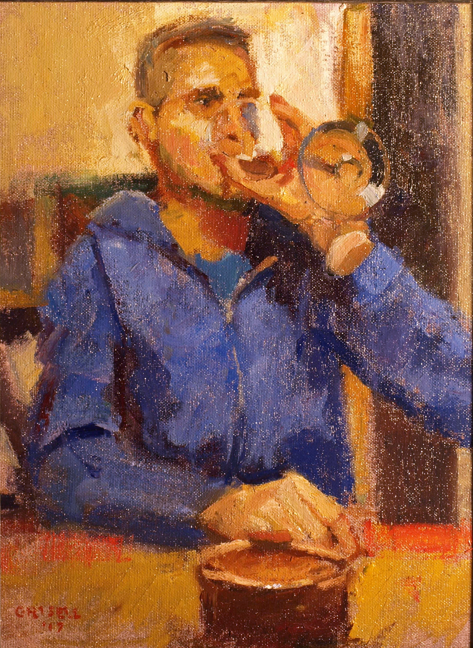 A Glass of Wine, Oil on Canvas on Panel, 16 x 12 Inches, by Susan Grisell, $300