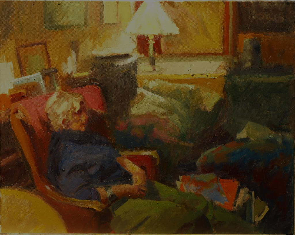 Margery Resting, Oil on Canvas, 16 x 20 Inches, by Susan Grisell, $500