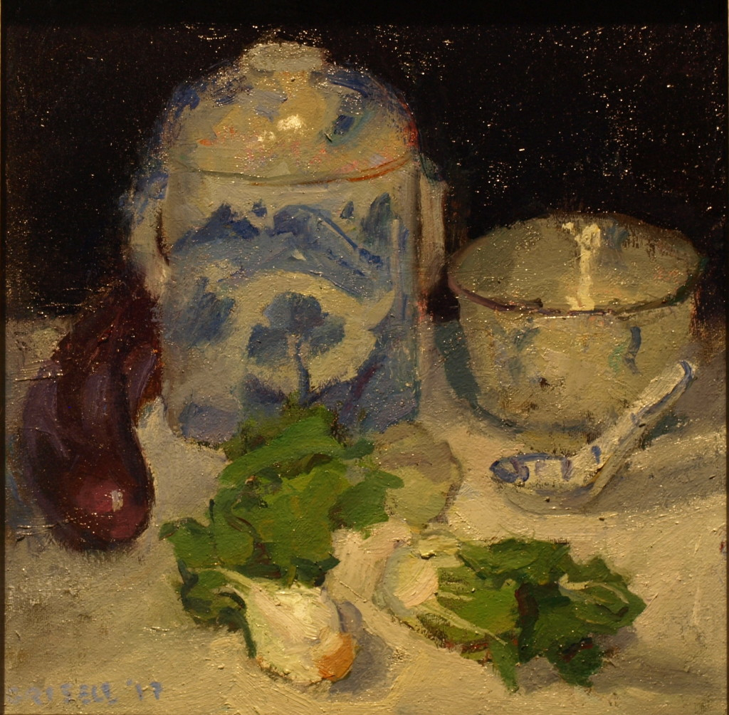 Chinese Still Life, Oil on Canvas on Panel, 12 x 12 Inches, by Susan Grisell, $275