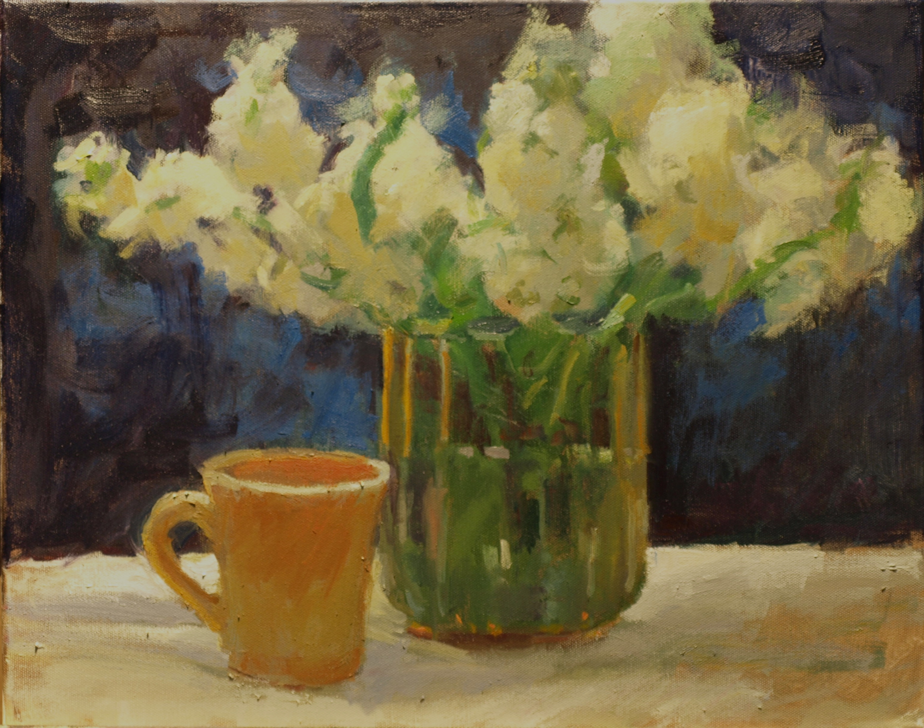 Flowers with Yellow Mug, Oil on Canvas, 16 x 20 Inches, by Susan Grisell, $500