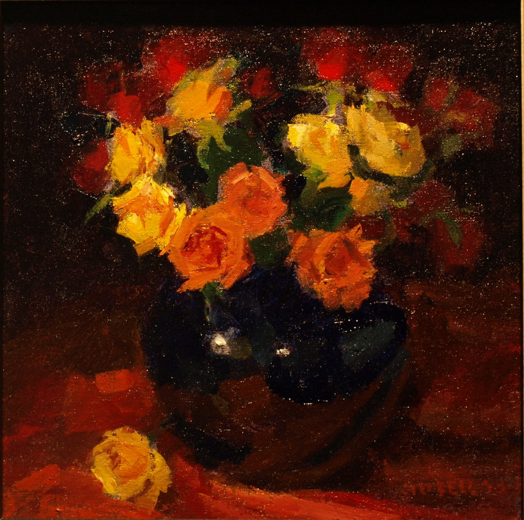 Roses and Cobalt Vase, Oil on Canvas on Panel, 12 x 12 Inches, by Susan Grisell, $275