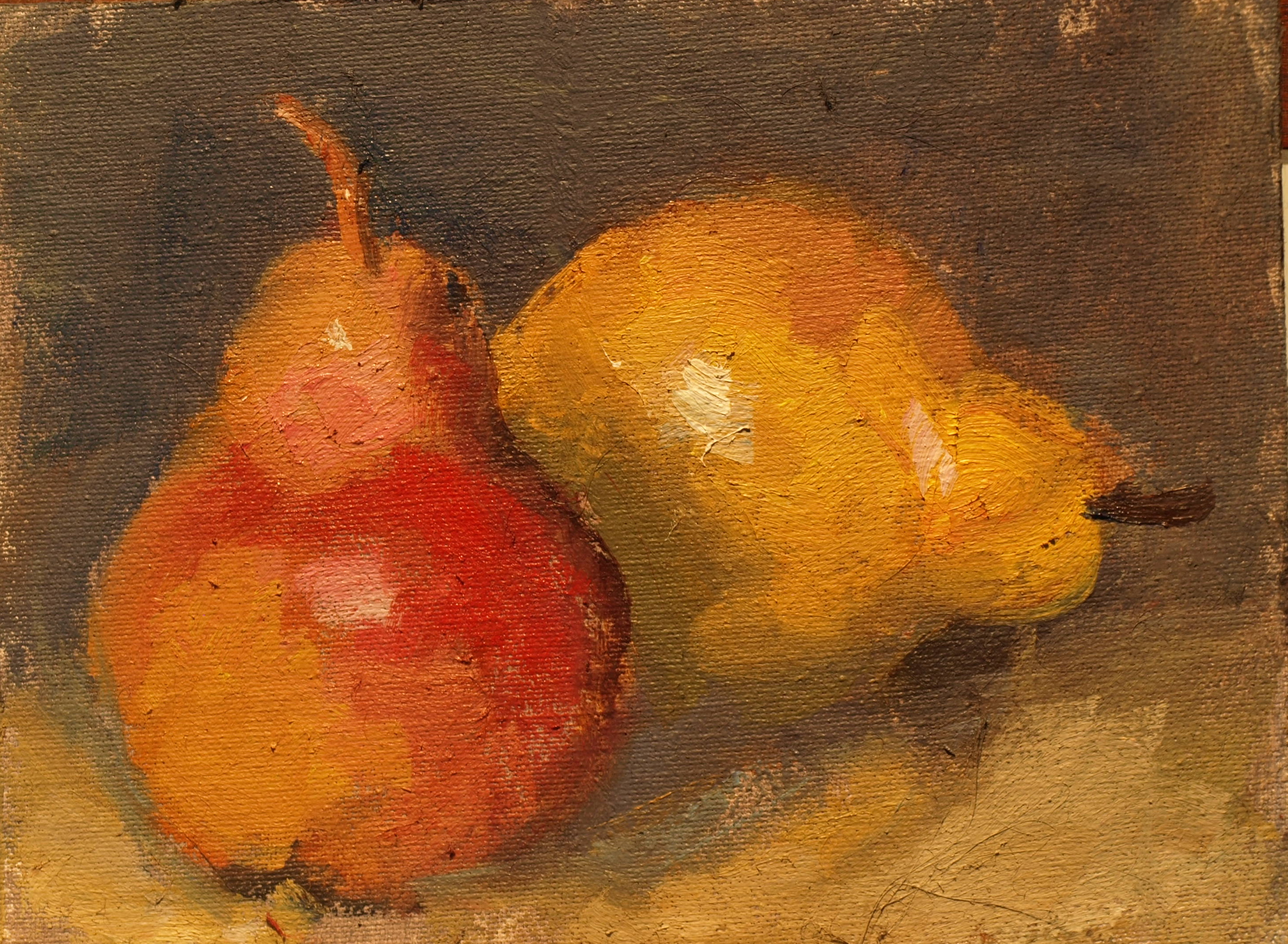 Two Pears, Oil on Canvas on Panel, 6 x 8 Inches, by Susan Grisell, $125