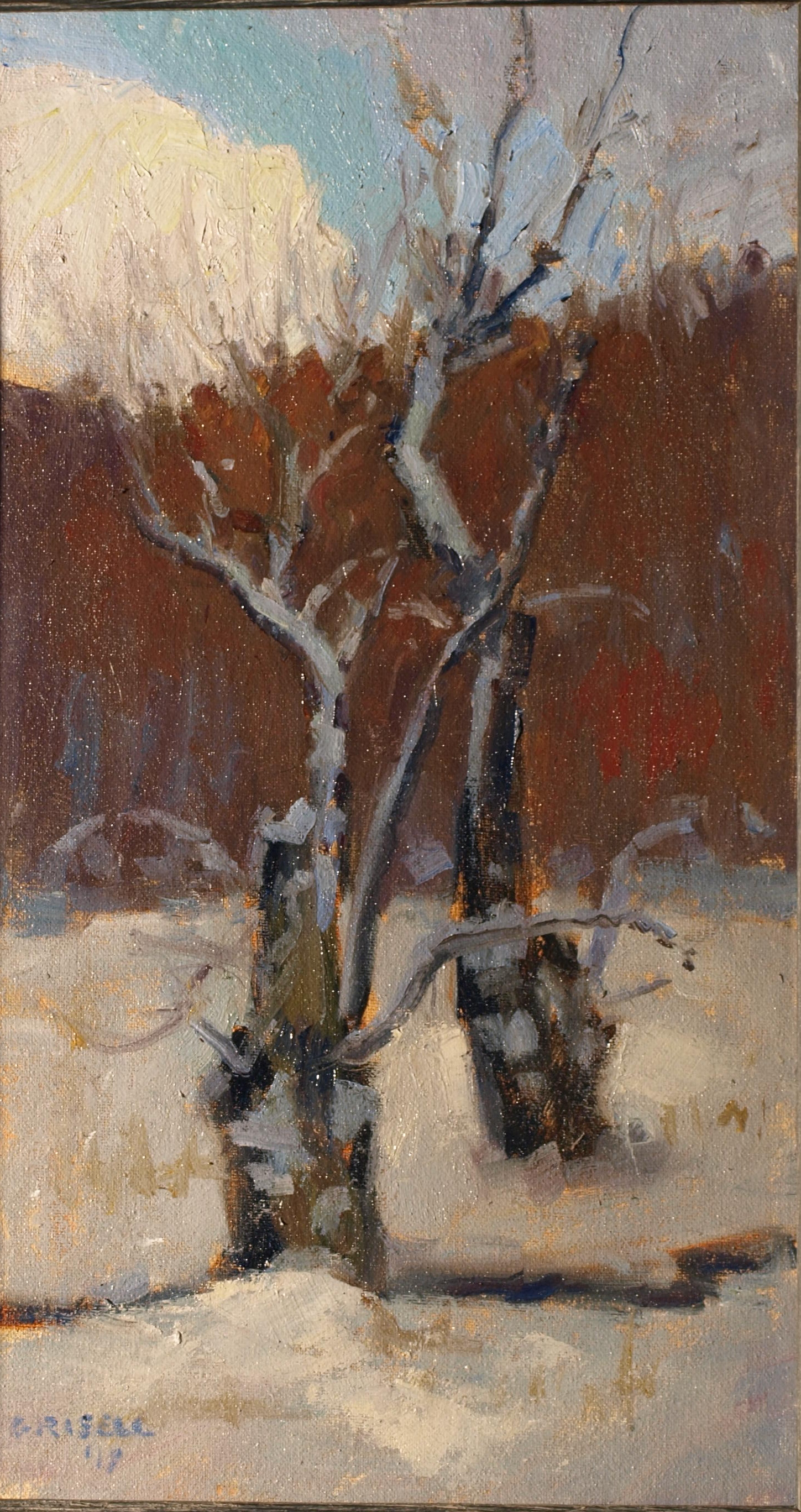 Old Willows, Oil on Canvas on Panel, 16 x 9 Inches, by Susan Grisell, $275