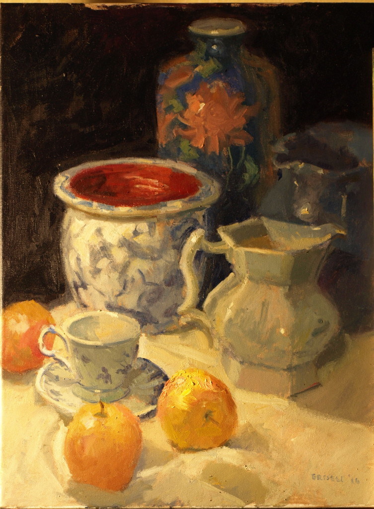 Porcelain and Apples, Oil on Canvas, 24 x 20 Inches, by Susan Grisell, $750