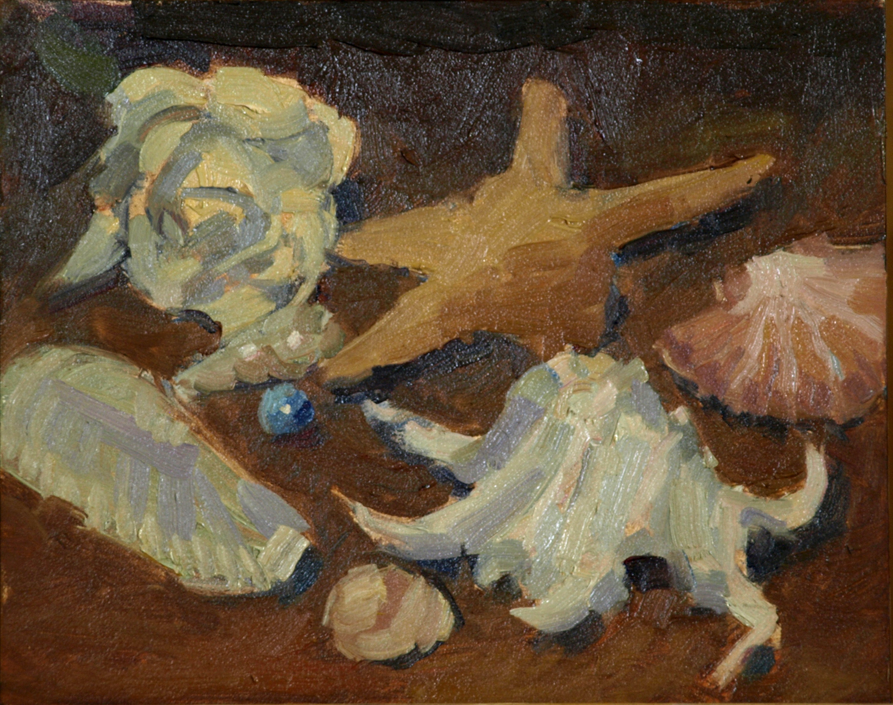 Shells, Oil on Panel, 8 x 10 Inches, by Susan Grisell, $150
