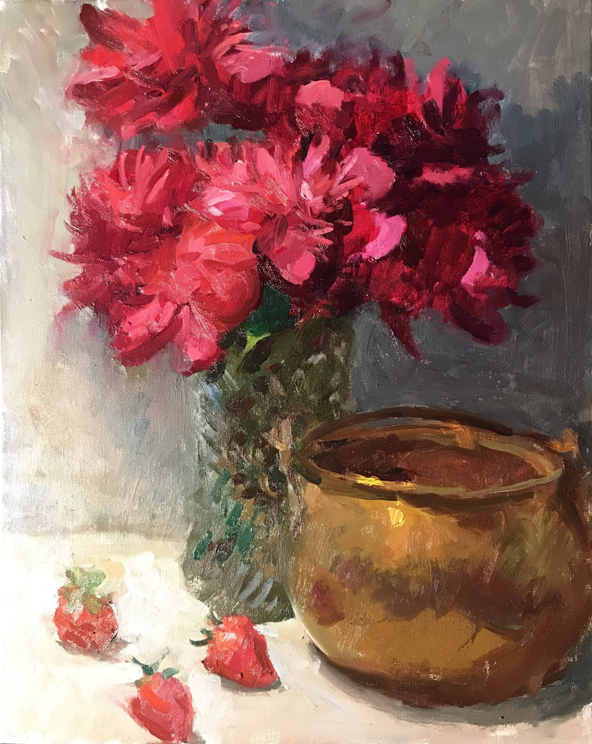 Abby's Peonies, Oil on Canvas, 20 x 16 Inches, by Susan Grisell $550