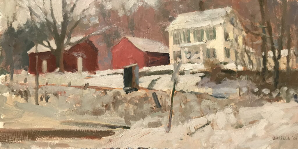 Across the Road, Oil on Panel, 12 x 24 Inches, by Susan Grisell, $550