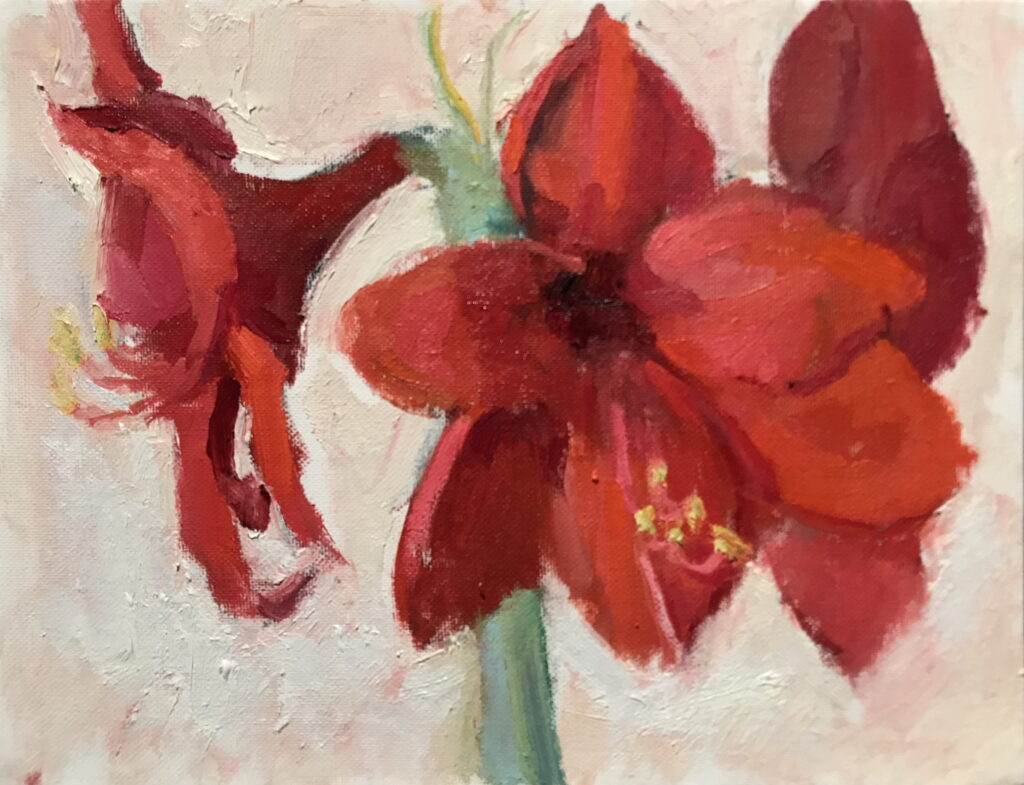 Amaryllis in February, Oil on Canvas on Panel, 9 x 12 Inches, by Susan Grisell, $200