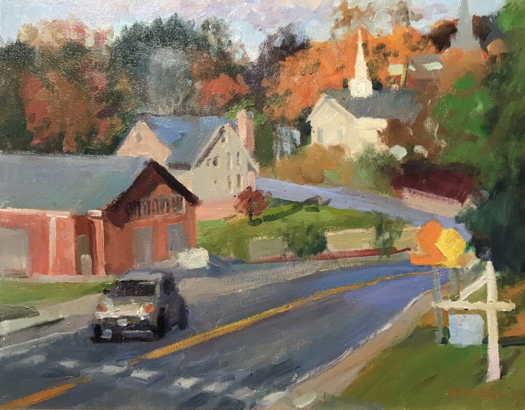 Approaching Town, Oil on Canvas, 16 x 20 Inches, by Susan Grisell, $550