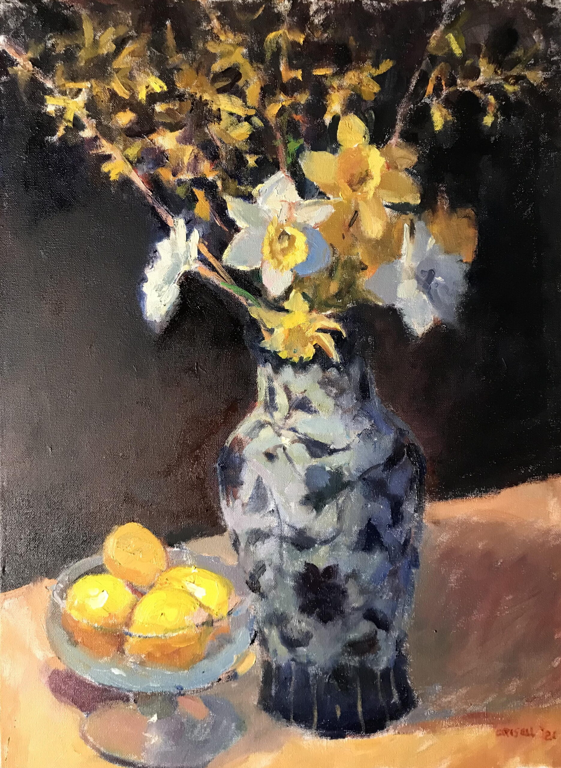 April Flowers, Oil on Canvas, 24 x 18 Inches, by Susan Grisell, $750