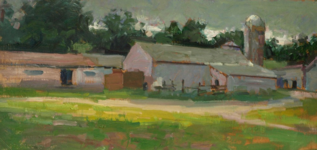 Arno's Barns, Oil on Linen on Panel, 12 x 24 Inches, by Susan Grisell, $450