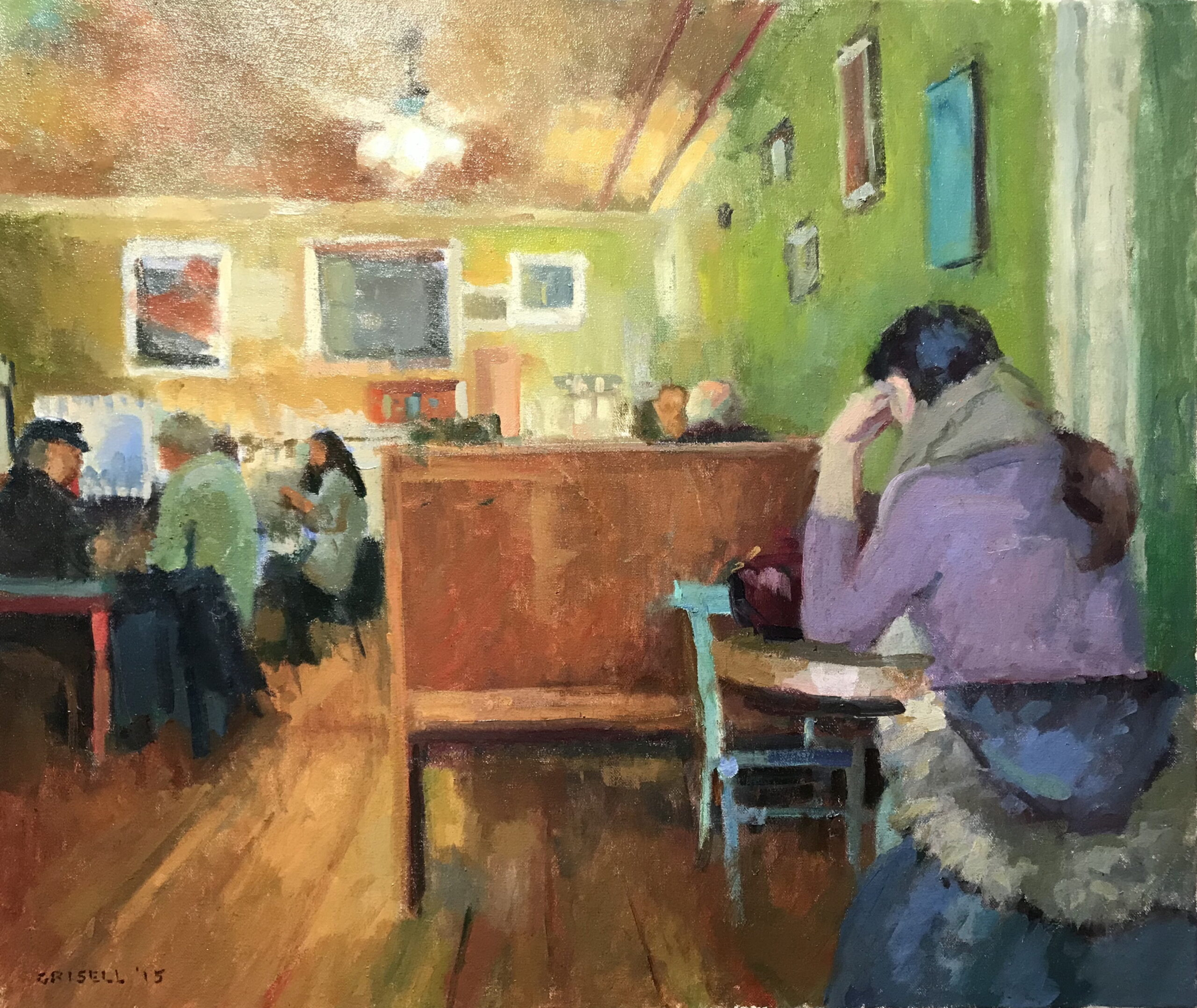 At the Coffee House, Oil on Canvas, 20 x 24 Inches, by Susan Grisell, $750