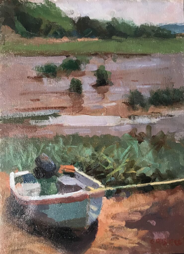 Little Blue Rowboat, Oil on Canvas on Panel, 16 x 12 Inches, by Susan Grisell, $325