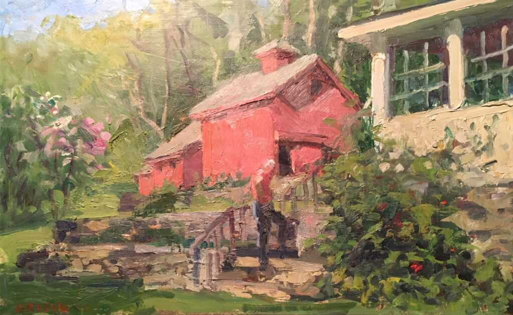 Backyard, Oil on Canvas on Panel, 12 x 18 Inches, by Susan Grisell, $325