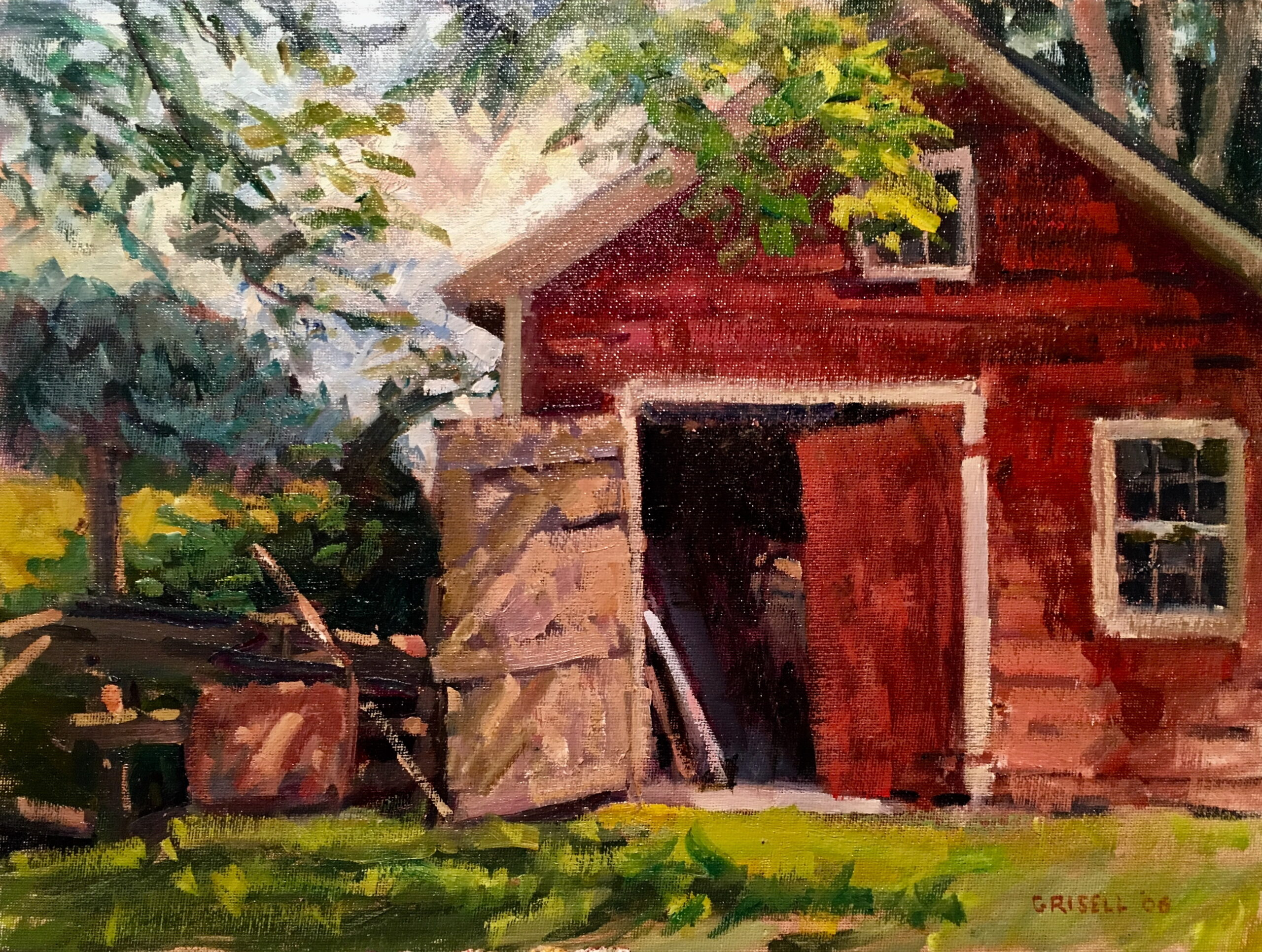 Barn Door, Oil on Canvas on Panel, 12 x 16 Inches, by Susan Grisell, $325