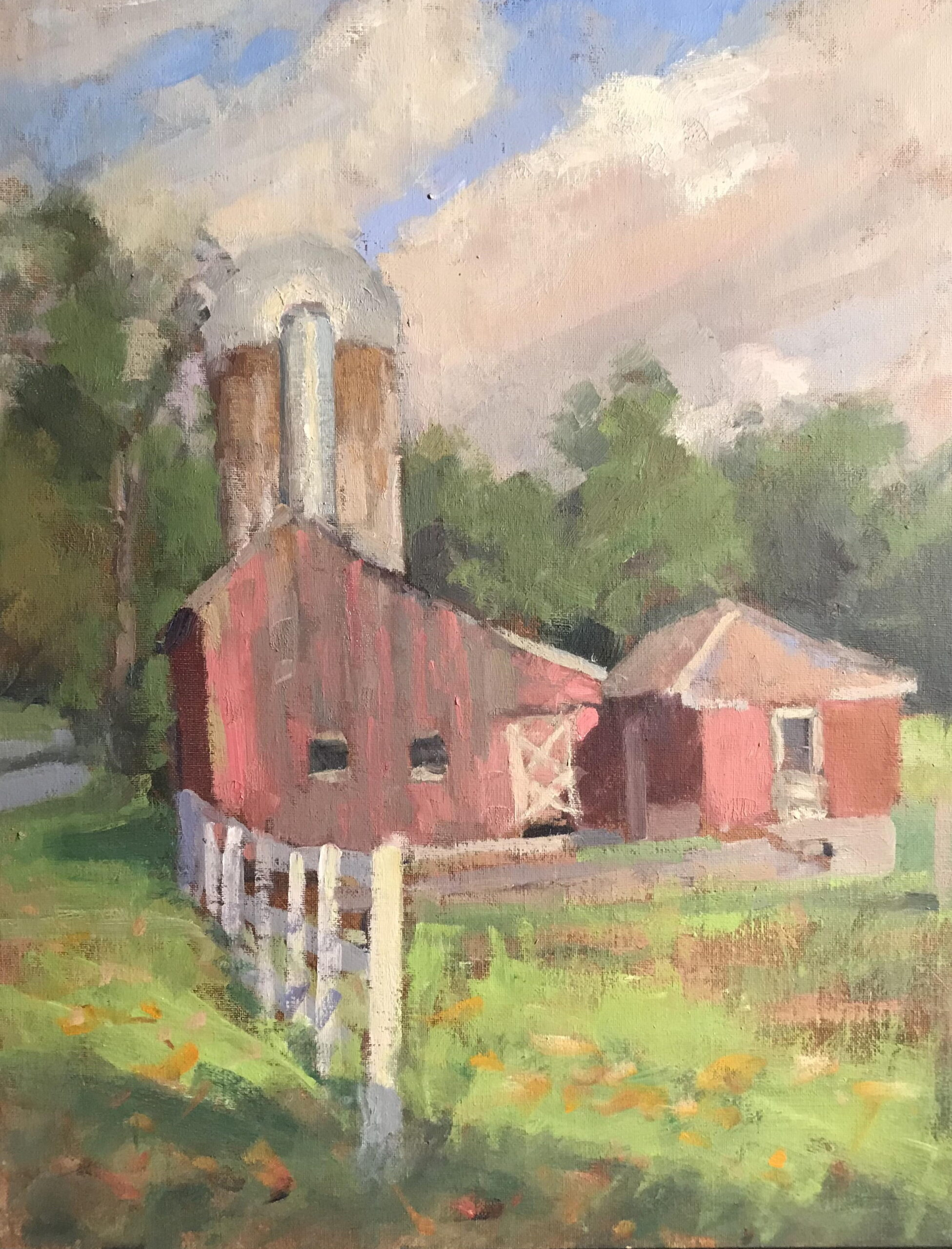 Barn Near Bull's Bridge, Oil on Canvas on Panel, 20 x 16 Inches, by Susan Grisell, $550