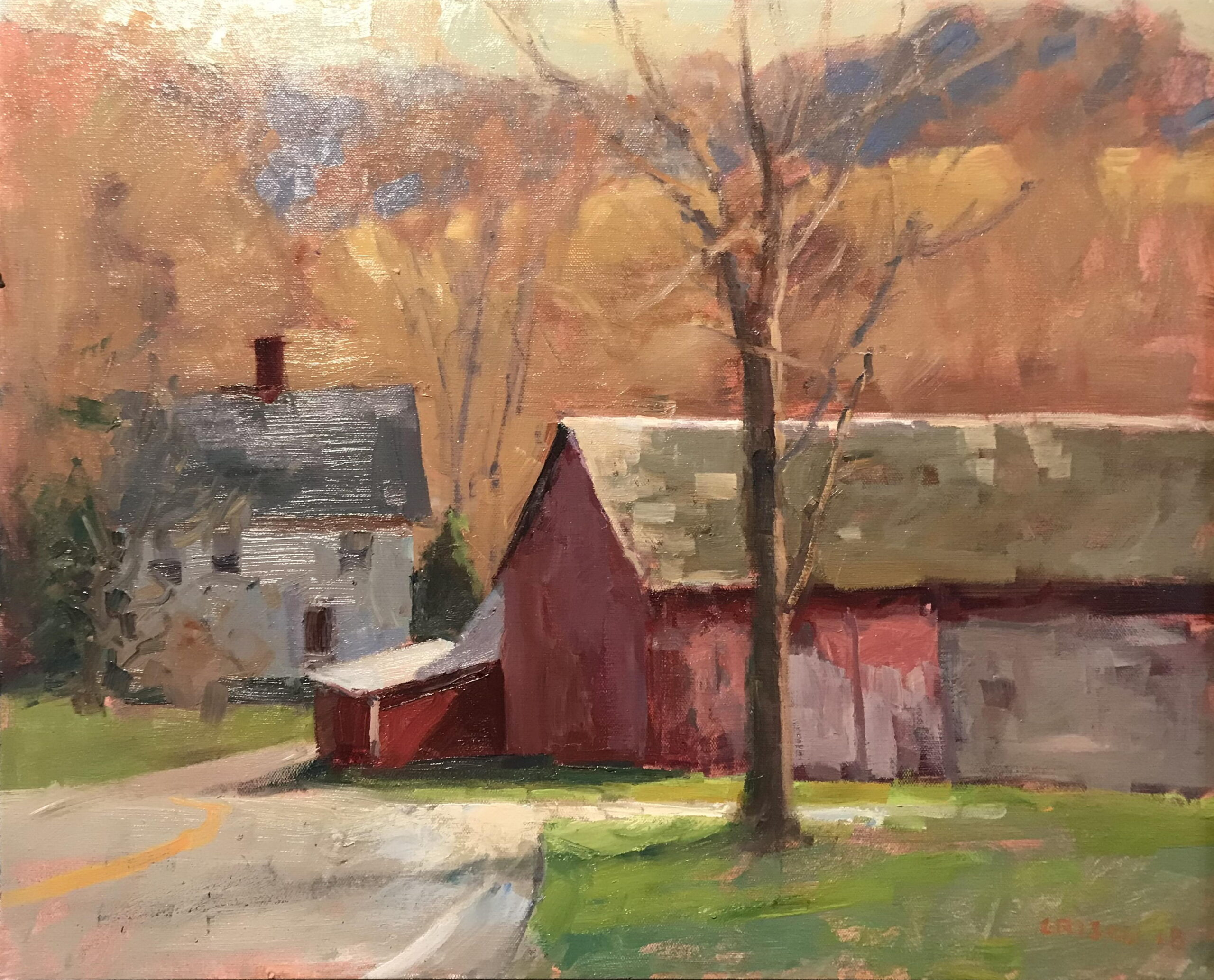 Barn and Farmhouse, Oil on Canvas, 18 x 24 Inches, by Susan Grisell, $750