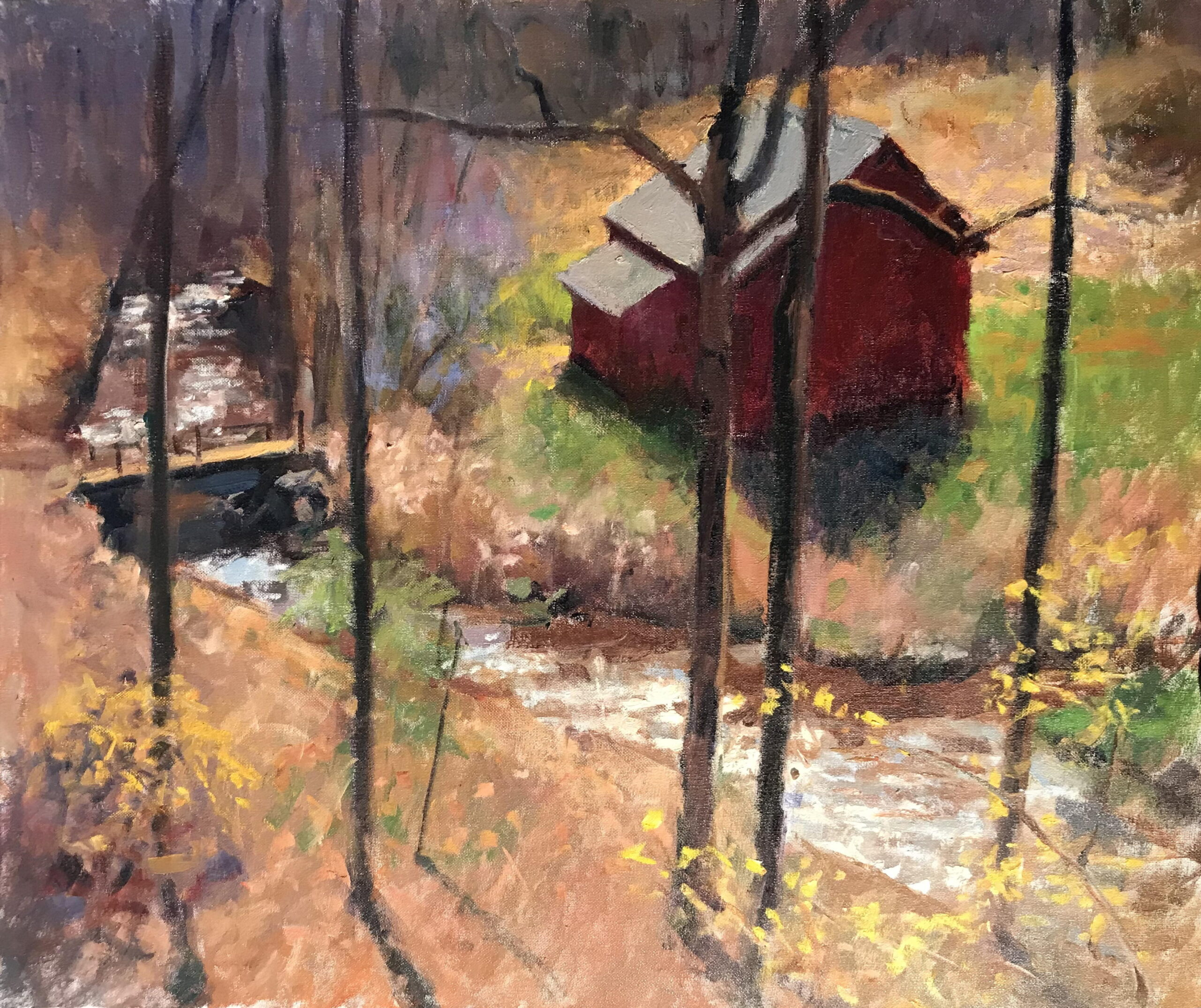Barn in April, Oil on Canvas, 24 x 30 Inches, by Susan Grisell, $1500
